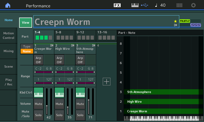 Creepn Worm home page on MONTAGE with single part indicated