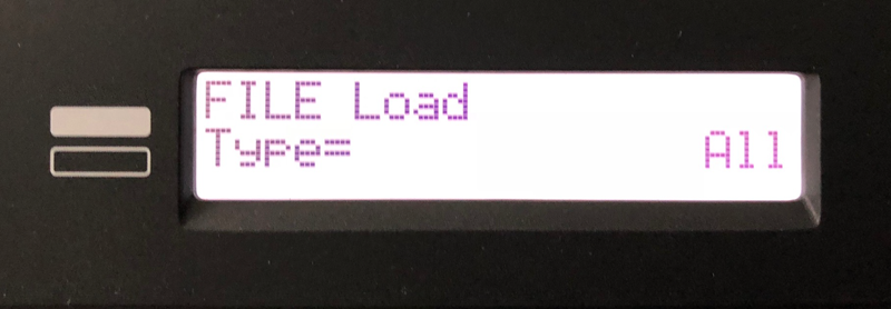 Screen showing File Load Type = A11.